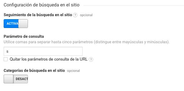 Búsquedas en el sitio - Configuración Google Analytics
